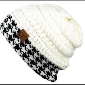 905cf5b3f5f545 C.C Accessories | Cc Black And White Houndstooth Beanie | Poshmark
